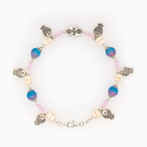 Pink & Blue Fish Charm Anklet