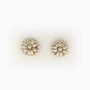 White Large Flower Pearl Studs