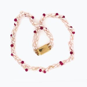 Amaka Red Jade Pearl Necklace